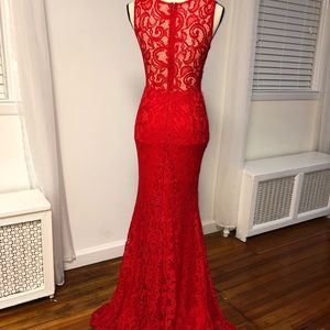 Dresses - Red Lace Jeweled Dress